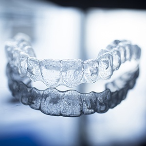 Clear Invisalign tray on table